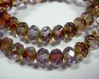 25 beads - 8x6mm Lavender Picasso Czech Fire polished Rondelle beads