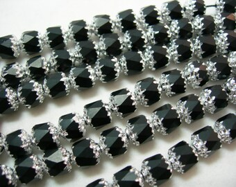 25 Black with Silver Cathedral Czech Glass 8mm beads
