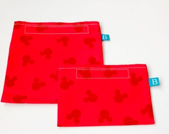 Reuseable Eco-Friendly Set of Snack and Sandwich Bags in Mickey Mouse Fabric