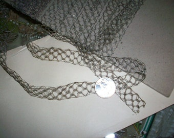 """1 yd of antique french silver lace trim 5/8"""""""