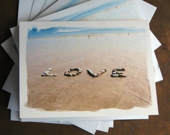 Romantic LOVE Beach Cards- Sentiment Note Cards, Card Set of 3, loving word created with stones on the beach, beach theme cards for wedding