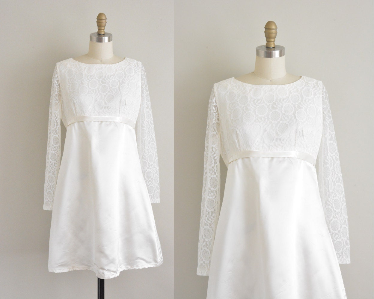 Classic Wedding Dress Satin: Vintage 1960s White Satin Wedding Dress / 60s Satin And Lace