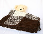 Crochet afghan brown cream throw blanket aran chocolate off white squares checkered plaid thick masculine couch home decor bedding