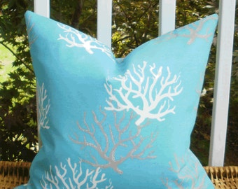 SALE ~ Outdoor Decorative Pillow Cover: Designer Turquoise, Gray and White Coral Design Outdoor 18 X 18 Accent Throw Pillow Cover