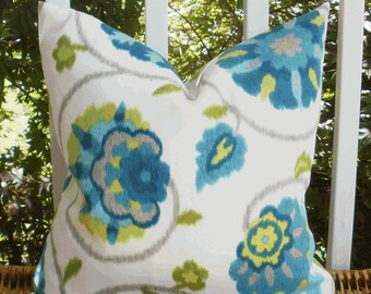 SALE ~ Outdoor Decorative Pillow Cover: Designer Suzani Fabric 18 X 18 Pillow Cover in Turquoise and Lime
