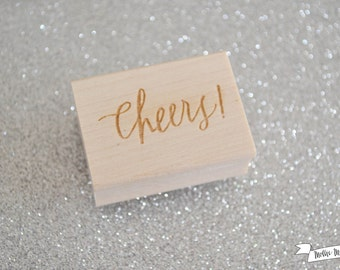 New Cheers Calligraphy Rubber Stamp