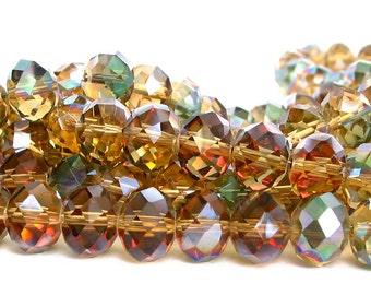 "17"" 4mm 6mm Amber SAHARA green AB designer crystal half coat rondelle Beads faceted glass"