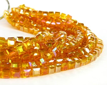"""8.5"""" 4mm Golden Yellow AB designer crystal cube 3D Beads faceted glass"""