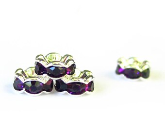 24 pcs 6mm / 7mm Rhinestone Rondelle wavy classic beads silver plated over brass - middle east stone - amethyst purple PICK SIZE