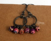 Sterling Hoop Earrings Purple Gemstone Bohemian Gypsy Hoops Oxidized Hoops Dangle Earring