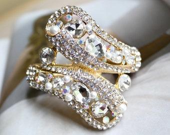 Gold Wedding Bracelet, Gold Bridal Bracelet, Vintage Style Pearl Rhinestone Bracelet, Bridesmaids Jewelry, Hinged Bangle Bracelet