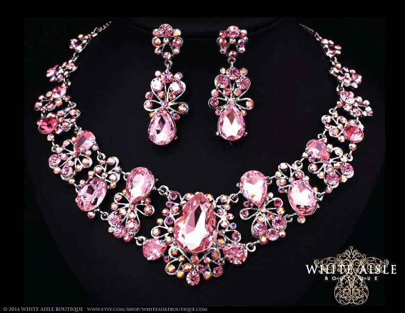 Pink Bridal Jewelry Set Crystal Statement Necklace Earrings