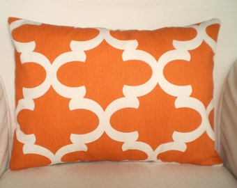 Orange Lumbar Pillow Cover, Throw Pillow, Decorative Pillow, Cushion Cover, Orange Cream Moroccan Quatrefoil Fynn 12 x 16  or 12 x 18