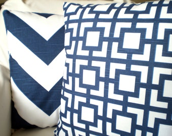 Navy Blue Pillow Covers, Decorative Throw Pillows, Cushion Covers, Premier Navy Blue White Geometric Chevron,Combo Set of Two Various Sizes