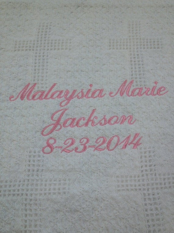 Baby Woven Cross White Mini-Blanket Embroidered with Three (3) lines with Name, Date, Weight or Other for Stroller cover or Christening