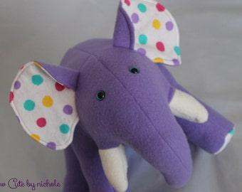 Purple Polka Dot Stuffed Elephant
