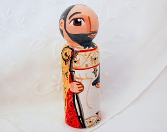 Saint Isidore of Seville Catholic Saint Doll - Wooden Toy - Made to Order