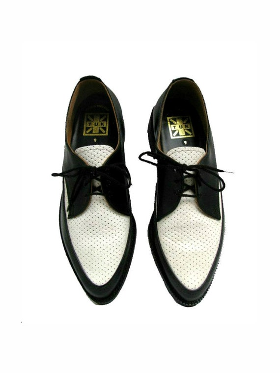 Mens Vintage Black and White 2 Tone Rockabilly Weave Top Leather Pointed Toe Shoes Mns US size 9