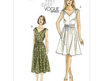 Sz 16/18/20/22/24 Vogue Dress Pattern V8645 - Misses' Dress and Sash in Two Variations - Very Easy Vogue