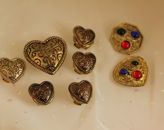 8 Vintage Button Covers 2 Styles Gold Hearts and colored Glass Shapes