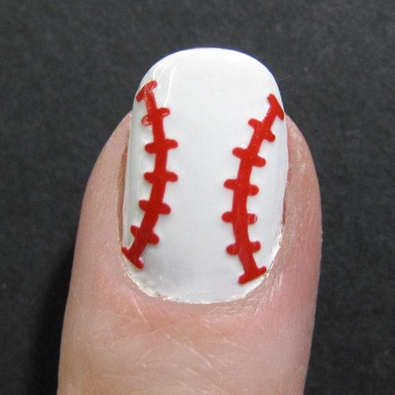 Baseball softball toe nail finger nail art tattoos like this item prinsesfo Gallery