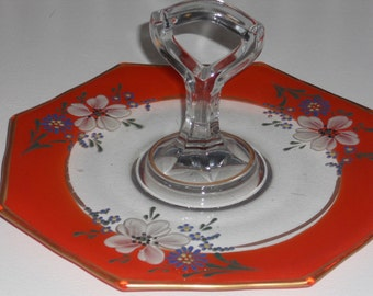 Stunning Hand-Painted Octagon-Shaped Cookie/Sandwich Plate w/ Handle
