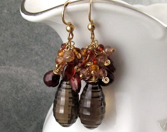 Fall gemstone earrings with garnet, citrine, andalusite, smokey Quartz handmade gold filled earrings-Fall Sunset