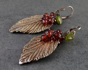 Silver leaf earrings, handmade recycled silver leaf and garnet earrings-OOAK-VINO