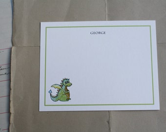 Dragon Thank You Notes Kids Children Fun Custom Notecard Stationery. Personalize Watercolor Print, Set of 10.