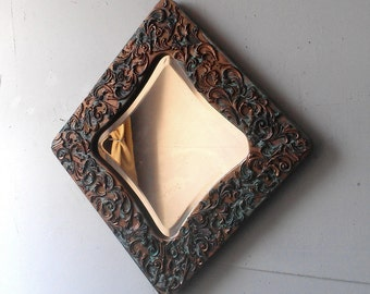 Large Mosaic Mirror in Diamond Shaped Wood Frame With Beveled Glass, Stylish Patina, Distressed Metal, Unique Wall Mirror