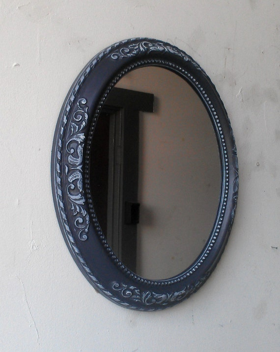 Gray and white oval mirror in small vintage frame 12 by 10 for Small white framed mirrors