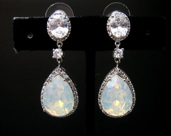 clip ons wedding jewelry bridal bridesmaid gift prom party christmas teardrop cubic zirconia swarovski white opal crystal oval earrings