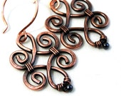 Wire Jewelry, Hematite, Motif Design, Antiqued Copper Jewelry, Wire Wrapped Earrings