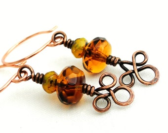 Celtic Knot Earrings, Handcrafted Jewelry, Faceted Amber and Yellow Rondelle Beads, Wire Wrapped Earrings, Antiqued Copper Wire
