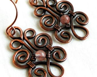 Antiqued Copper Jewelry, Pink Glass, Wire Wrapped Earrings, Bouquet of Roses Earrings
