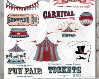 Set of 12 Vintage Circus Clipart, PNG files, Circus tent, Carousel, Under the Big Top, Carnival Bunting clipart