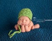 Knit Baby Bonnet Hat, Pick your color, Newborn Photo Shoot Prop by Cream of the Prop