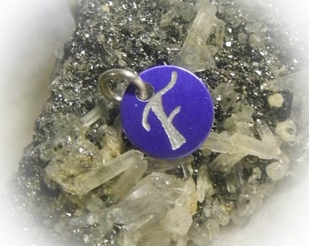 Letter F Hand Engraved Purple Personalized Small  Charm 1/2 inch
