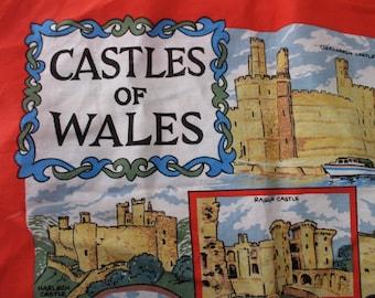 vintage dish towel- Castles of Wales