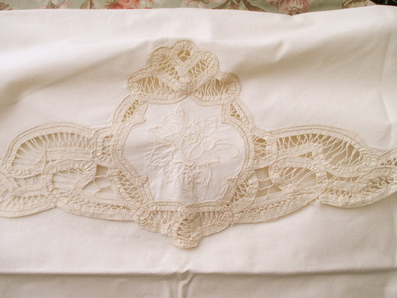 Shabby Chic Pillow Shams : Shabby Chic Cream Cotton PILLOW SHAM large battenburg lace