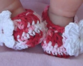 NEW Listing...Hippie Tie Dye Slipper...Girl....Newborn and 0 to 3 Month sizes...White Flower Accent...Ready to Ship..,Red, White & Pink