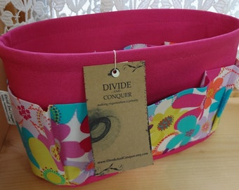 Purse ORGANIZER Insert SHAPER / Bag Organizer / Floral #9 on Fuchsia /STURDY / 5 Sizes Available /Check out my shop for more colors & styles