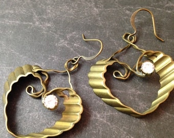 Antiqued Brass Ruffled Heart with Crystal Earrings