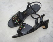 Vintage Penaljo Black Patent Vinyl Jeweled Studded Sandals Size 8-1/2 W