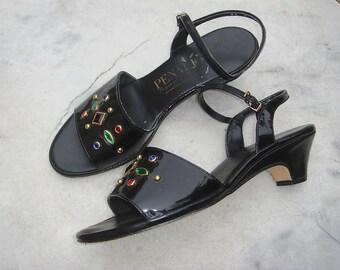 Vintage Penaljo Black Patent Vinyl Jeweled Studded Sandals Size 8-1/2 W