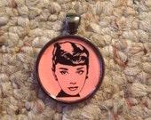 Pop Culture Icon Audrey Hepburn Image Pendant Necklace-FREE SHIPPING-