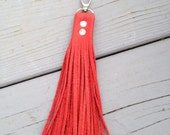 Red Leather Tassel Keychain