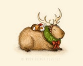 Capy Holidays - Capybara and guinea pig Reindeer Ride