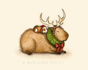 Capy Holidays - Capybara and guinea pig Reindeer Ride