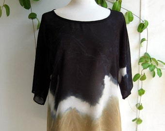 Blouse , Shiffon Tunic, Tie Dye Top, Handmade Shirt, Casual Loose Blouse, Loose Fitting, More